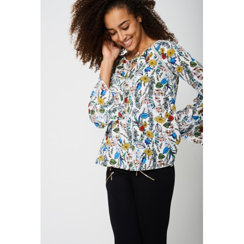 Fluted Sleeve Top in Floral