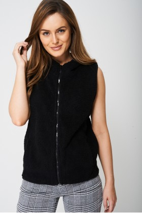 Fluffy Gilet with Fixed Hood Black