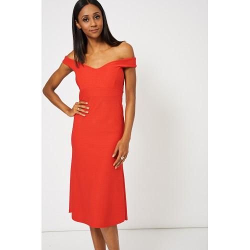 Red Sweetheart Off Shoulder Dress