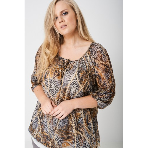 PLUS Ruched Sleeve Top in Animal Print