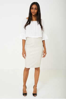 BIK BOK Faux Leather Pencil Skirt in Grey