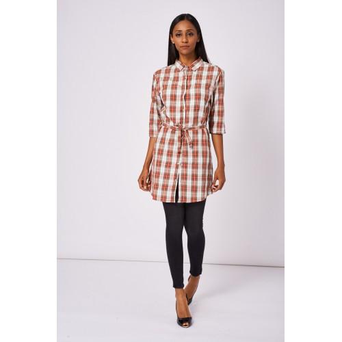Red Tiewaist Check Shirt Dress