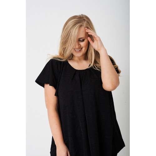 PLUS Pleated Front Textured Top