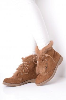 Faux Fur Chelsea Boots Camel
