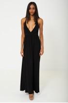 Deep Plunge Maxi Dress in Black