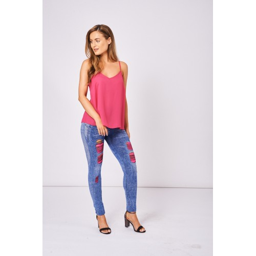 Blue Jeggings with Neon Pink Lace Insert