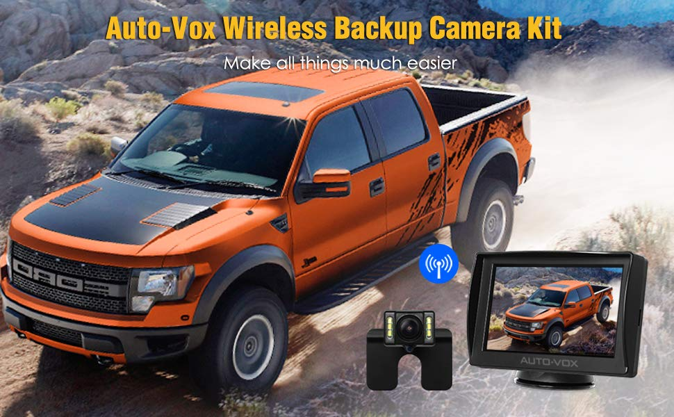 AUTO-VOX-M1W-Wireless-Reversing-Camera-Kit-6-LEDS-Reverse-Camera-with-Super-Night-Vision-IP68-Waterproof-Backup-Camera-43-Rear-View-Monitor-and-170-Wide-Angle-Parking-Camera-for-Cars-B07425TPBT