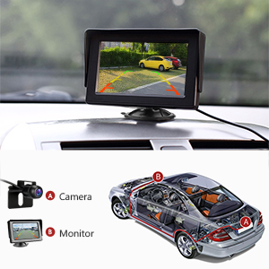 Reversing-Camera-Kit-with-43-LCD-Monitor-Car-Rearview-Backup-Camera-IP68-Waterproof-Night-Vision-Parking-Assistance-System-for-Vans-Cars-Trucks-RVs-12V-B07RK31YW9