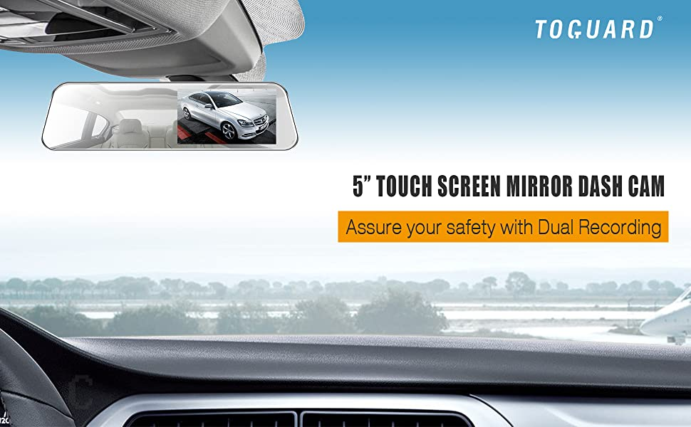 TOGUARD-Mirror-Dash-Cam-5-LCD-Backup-Camera-Rear-View-Mirror-Camera-Ultra-Thin-Touch-Screen-Full-HD-1080P-Dash-Cam-Front-and-Rear-Dual-Lens-with-Waterproof-Rear-Camera-B07TTNG76M